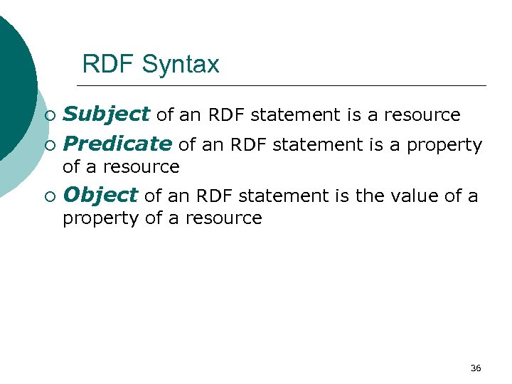RDF Syntax Subject of an RDF statement is a resource ¡ Predicate of an
