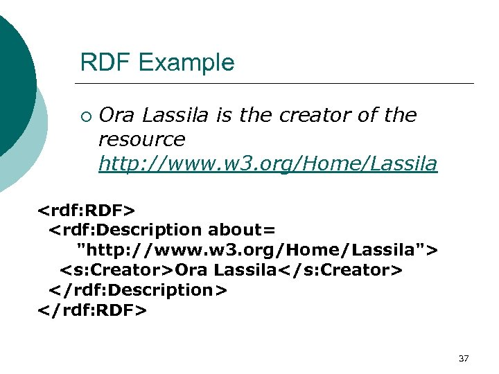 RDF Example ¡ Ora Lassila is the creator of the resource http: //www. w