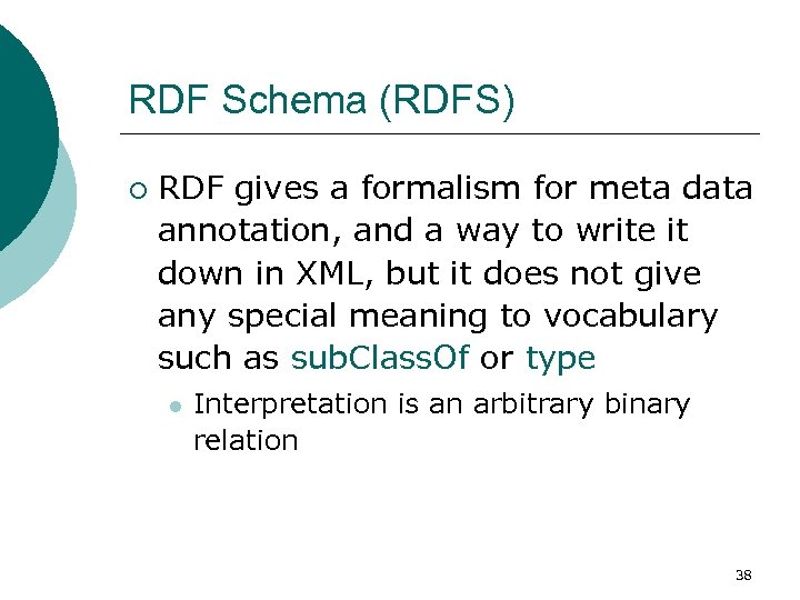 RDF Schema (RDFS) ¡ RDF gives a formalism for meta data annotation, and a