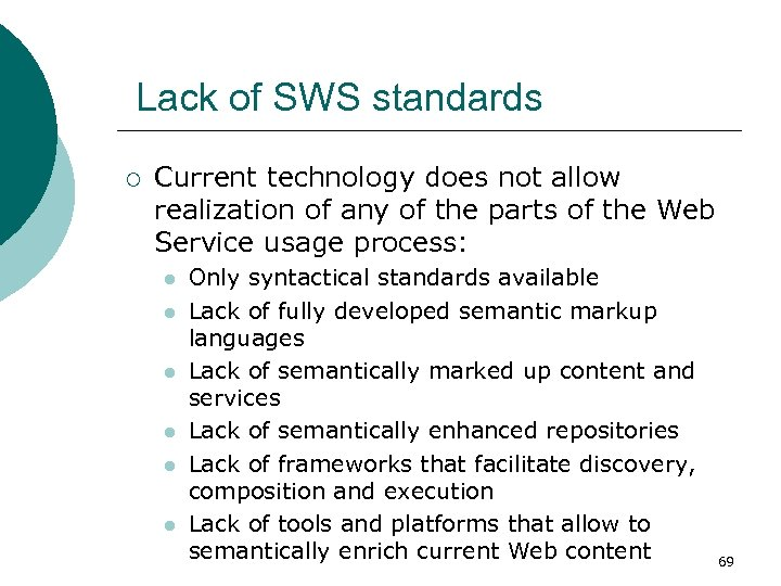 Lack of SWS standards ¡ Current technology does not allow realization of any of
