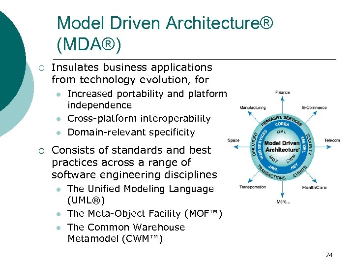 Model Driven Architecture® (MDA®) ¡ Insulates business applications from technology evolution, for l l
