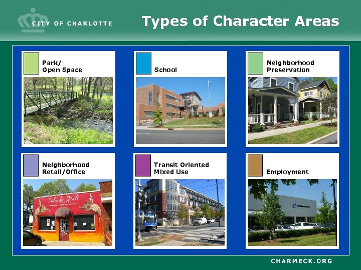 Types of Character Areas Park/ Open Space School Neighborhood Preservation Neighborhood Retail/Office Transit Oriented