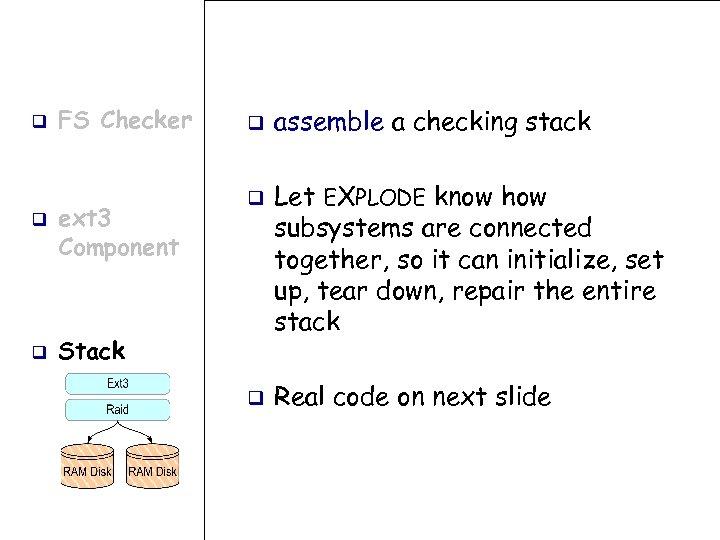 q q q FS Checker ext 3 Component q q Stack q assemble a