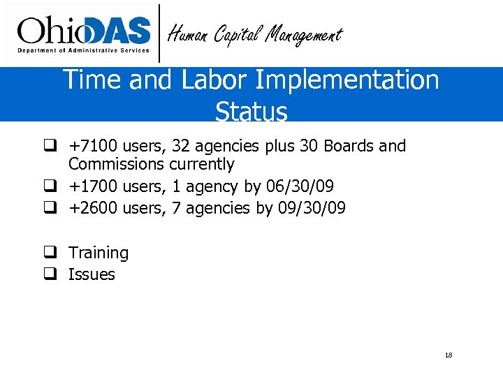 Human Capital Management Time and Labor Implementation Status q +7100 users, 32 agencies plus