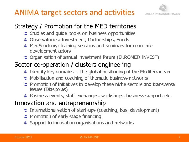 ANIMA target sectors and activities Strategy / Promotion for the MED territories Studies and