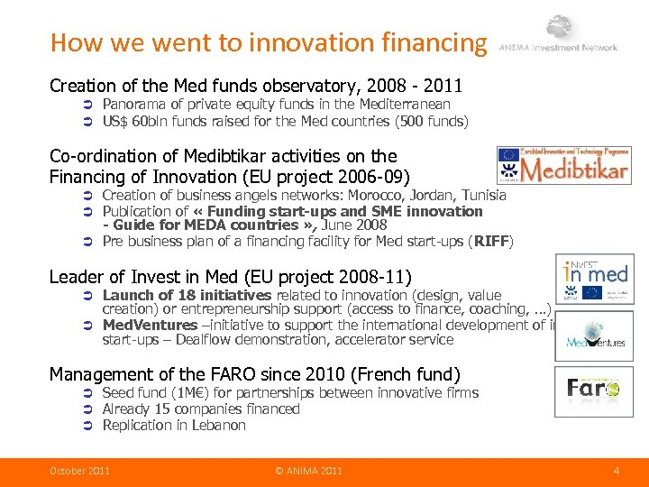 How we went to innovation financing Creation of the Med funds observatory, 2008 -