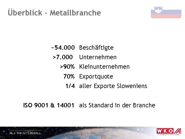 Überblick - Metallbranche ~54. 000 Beschäftigte >7. 000 Unternehmen >90% Kleinunternehmen 70% Exportquote 1/4