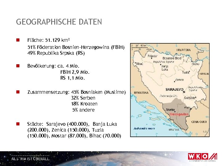GEOGRAPHISCHE DATEN n Fläche: 51. 129 km² 51% Föderation Bosnien-Herzegowina (FBi. H) 49% Republika