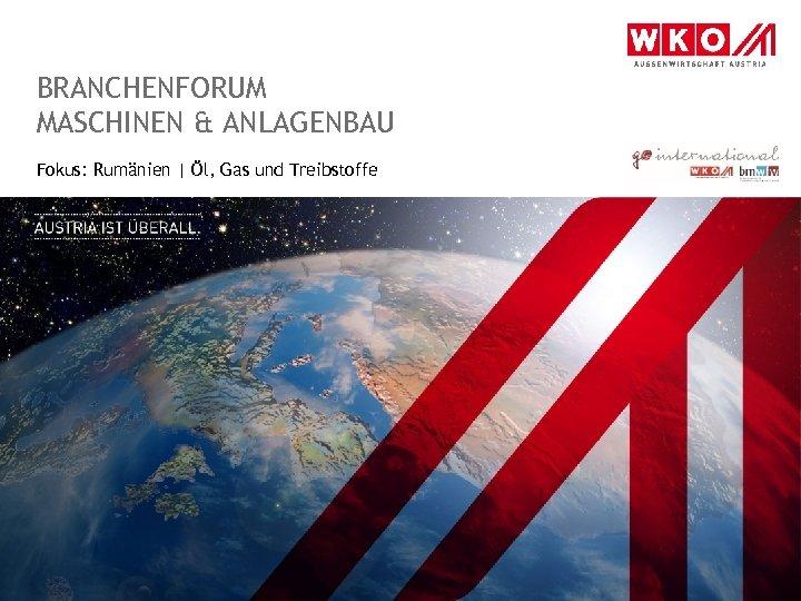 BRANCHENFORUM MASCHINEN & ANLAGENBAU Fokus: Rumänien   Öl, Gas und Treibstoffe