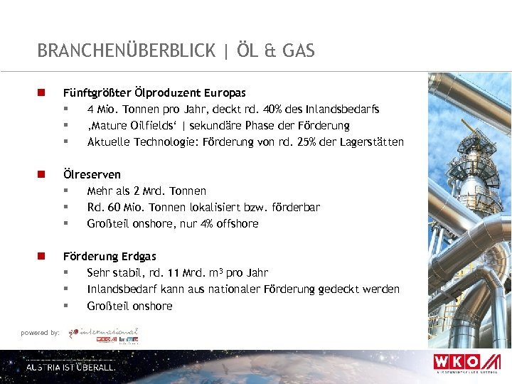 BRANCHENÜBERBLICK   ÖL & GAS n Fünftgrößter Ölproduzent Europas § 4 Mio. Tonnen pro