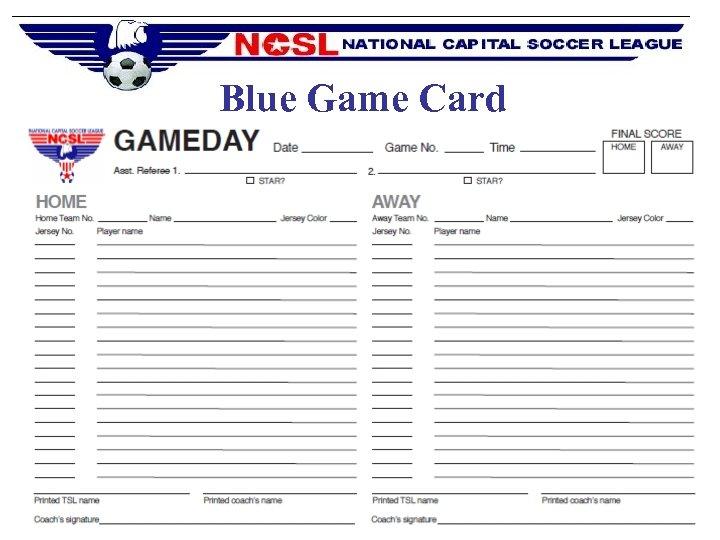 Blue Game Card