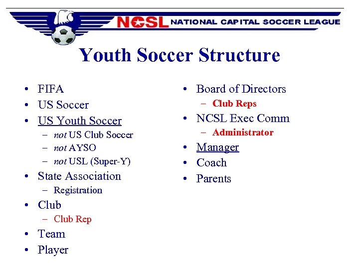 Youth Soccer Structure • FIFA • US Soccer • US Youth Soccer – not