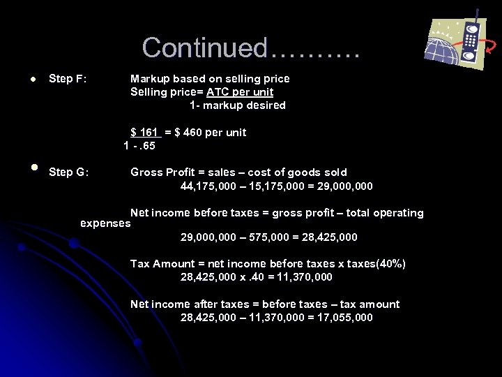 Continued………. l Step F: Markup based on selling price Selling price= ATC per unit
