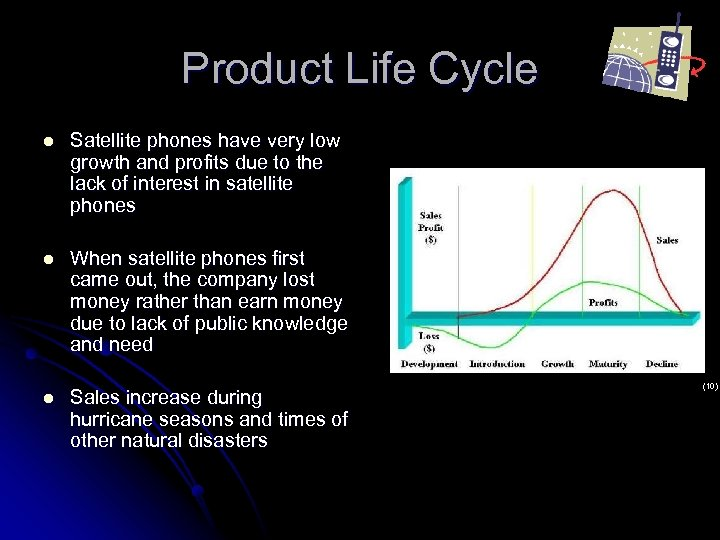 Product Life Cycle l Satellite phones have very low growth and profits due to