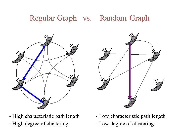 Regular Graph vs. - High characteristic path length - High degree of clustering. Random