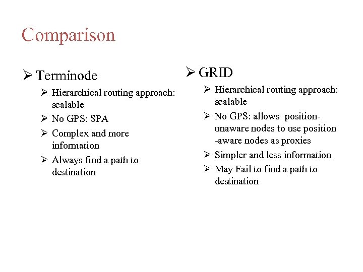 Comparison Terminode Hierarchical routing approach: scalable No GPS: SPA Complex and more information Always