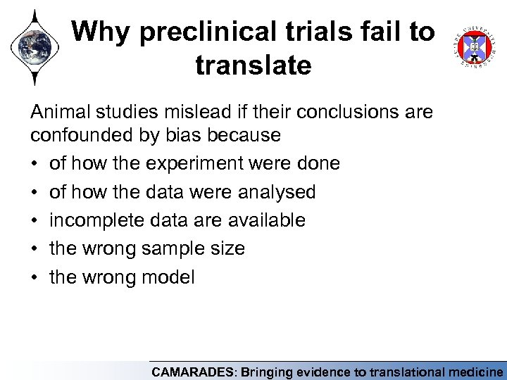 Why preclinical trials fail to translate Animal studies mislead if their conclusions are confounded