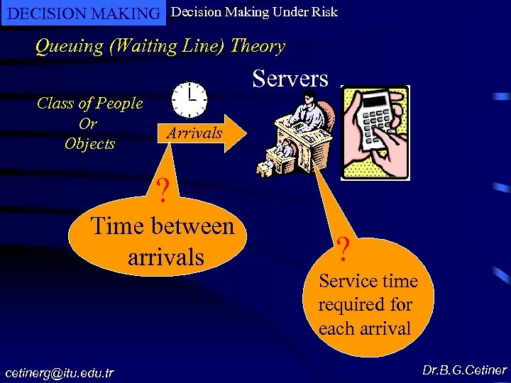 DECISION MAKING Decision Making Under Risk Queuing (Waiting Line) Theory Servers Class of People