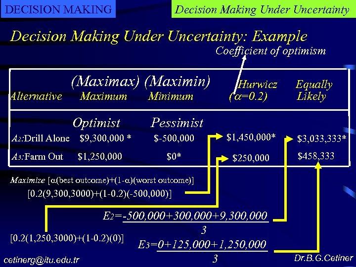 DECISION MAKING Decision Making Under Uncertainty: Example Coefficient of optimism Alternative (Maximax) (Maximin) Maximum
