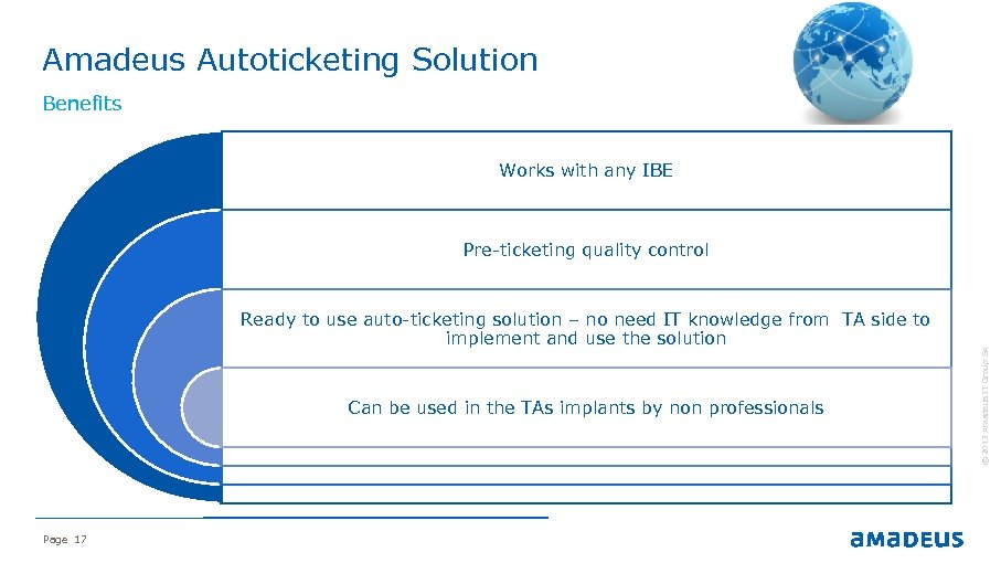 Amadeus Autoticketing Solution Benefits Works with any IBE Ready to use auto-ticketing solution –