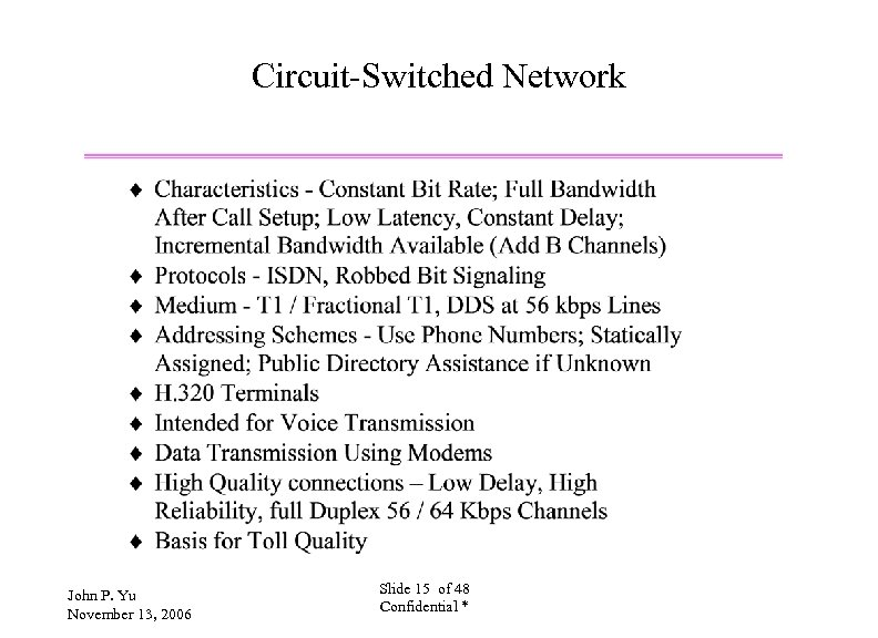 Circuit-Switched Network John P. Yu November 13, 2006 Slide 15 of 48 Confidential *