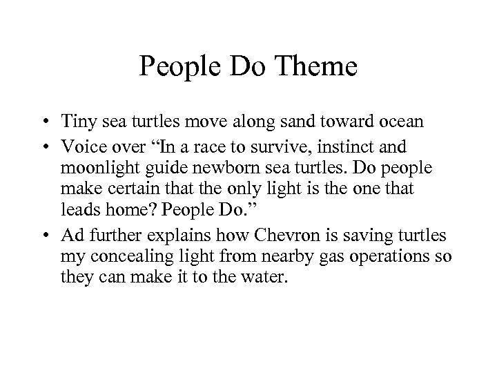 People Do Theme • Tiny sea turtles move along sand toward ocean • Voice