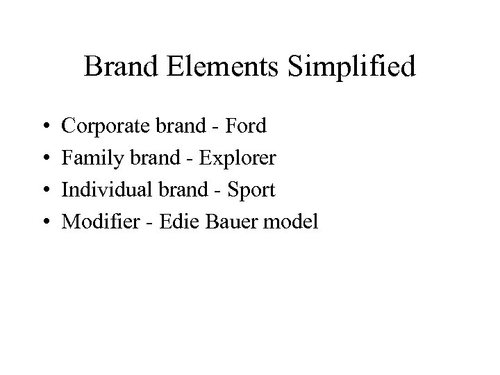 Brand Elements Simplified • • Corporate brand - Ford Family brand - Explorer Individual