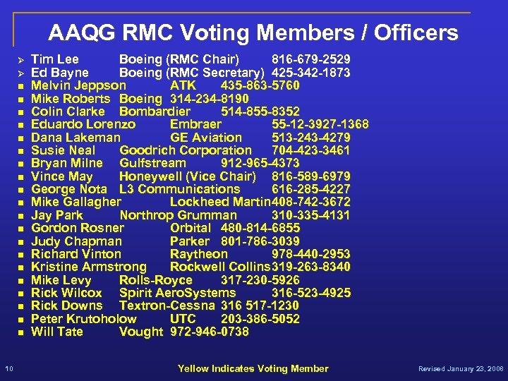 AAQG RMC Voting Members / Officers Ø Ø n n n n n 10