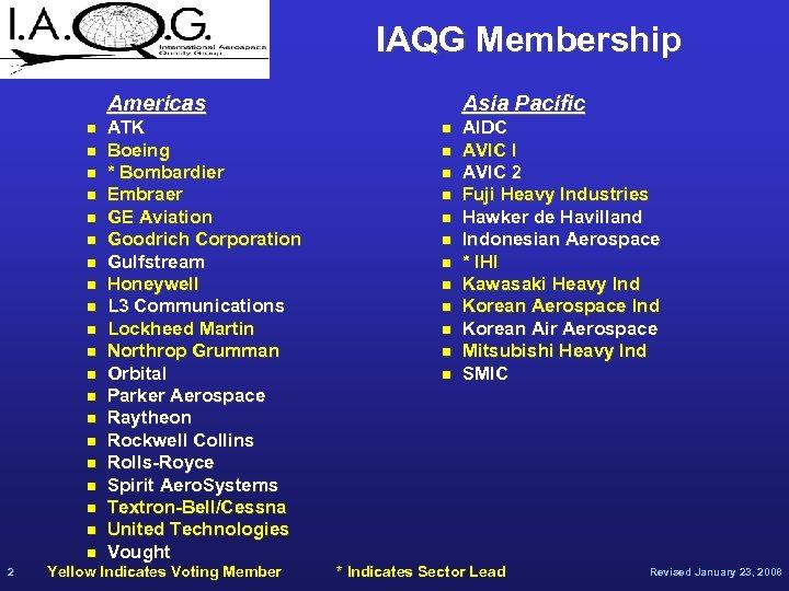 IAQG Membership Americas n n n n n 2 ATK Boeing * Bombardier Embraer