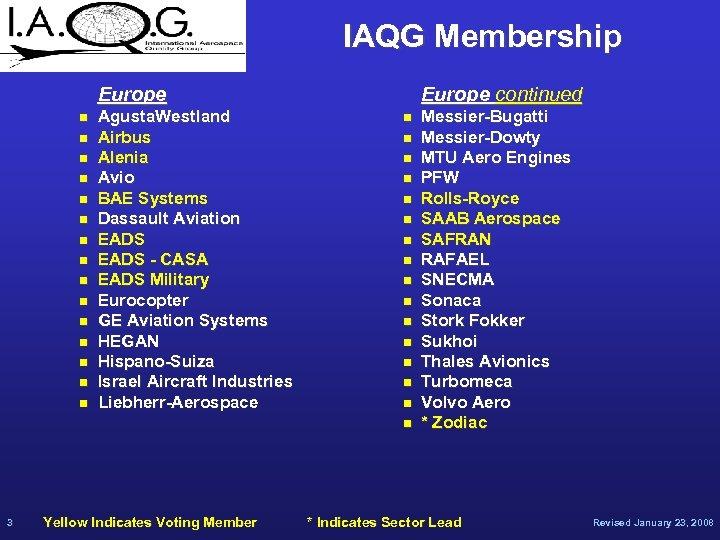 IAQG Membership Europe n n n n Agusta. Westland Airbus Alenia Avio BAE Systems