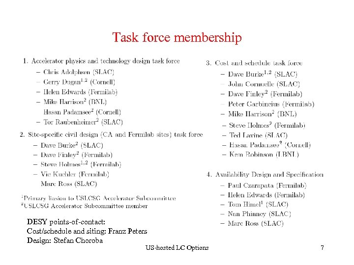 Task force membership DESY points-of-contact: Cost/schedule and siting: Franz Peters Design: Stefan Choroba US-hosted