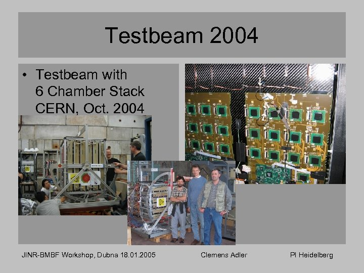 Testbeam 2004 • Testbeam with 6 Chamber Stack CERN, Oct. 2004 JINR-BMBF Workshop, Dubna