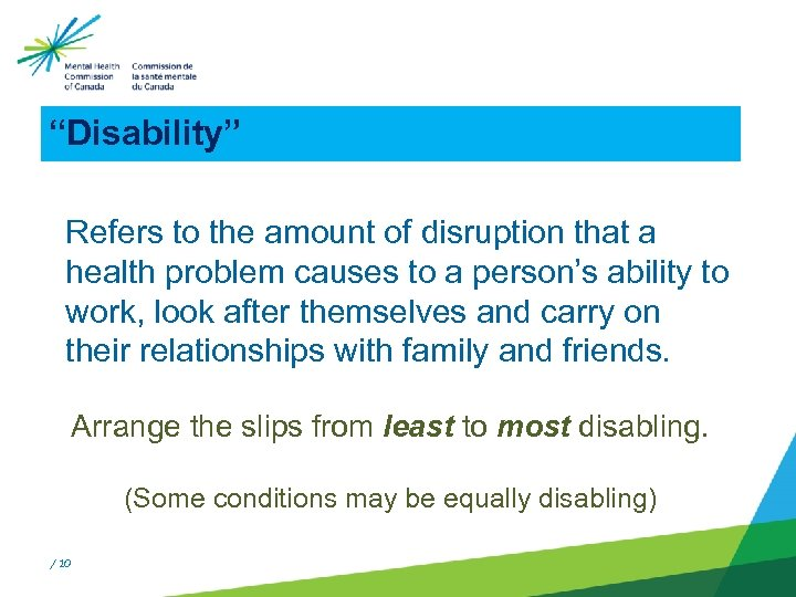 """""""Disability"""" Refers to the amount of disruption that a health problem causes to a"""