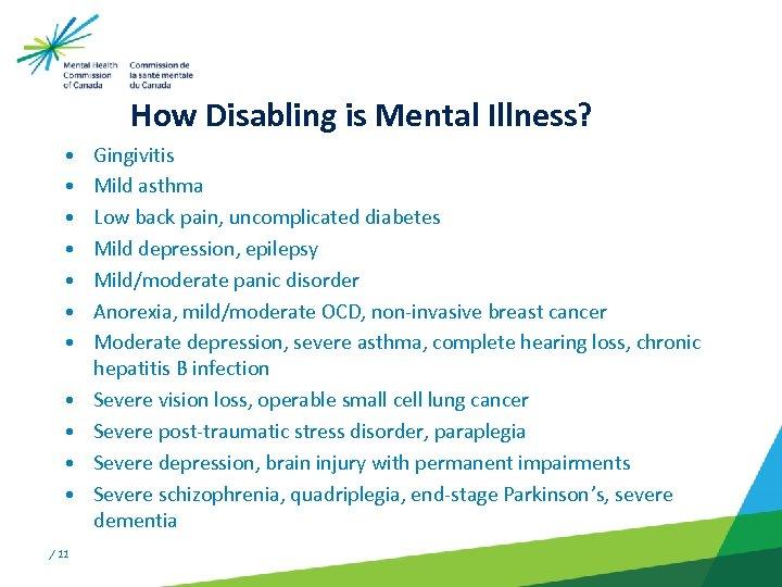 How Disabling is Mental Illness? • • • / 11 Gingivitis Mild asthma
