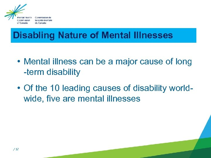 Disabling Nature of Mental Illnesses • Mental illness can be a major cause of