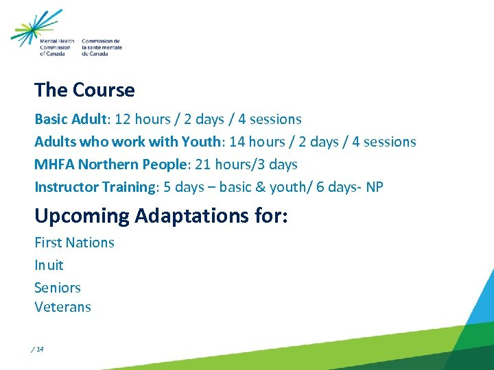 The Course Basic Adult: 12 hours / 2 days / 4 sessions Adults who
