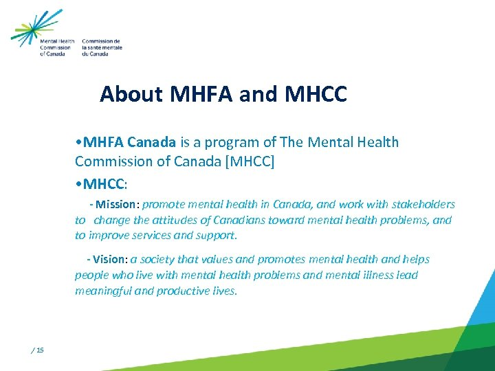 About MHFA and MHCC • MHFA Canada is a program of The Mental Health