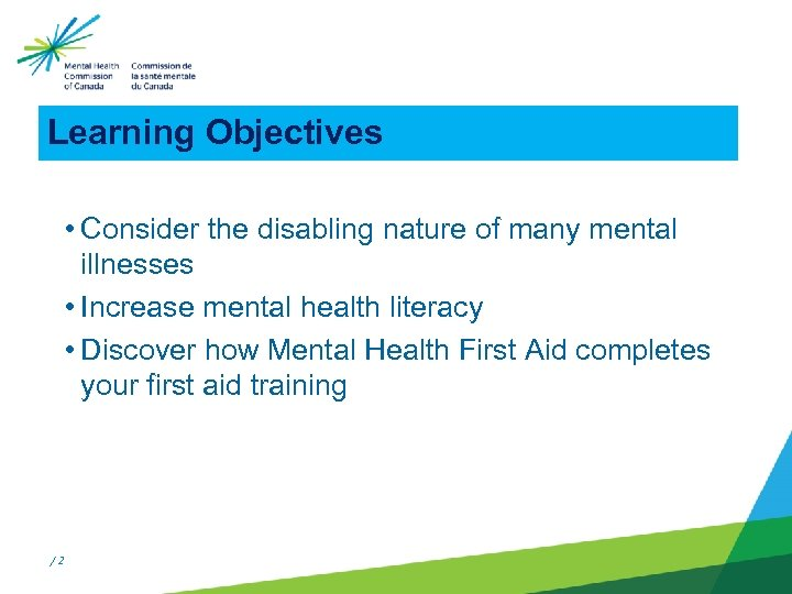 Learning Objectives • Consider the disabling nature of many mental illnesses • Increase mental