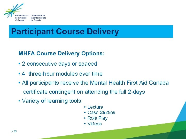 Participant Course Delivery MHFA Course Delivery Options: • 2 consecutive days or spaced •