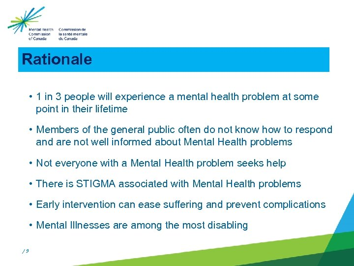 Rationale • 1 in 3 people will experience a mental health problem at some