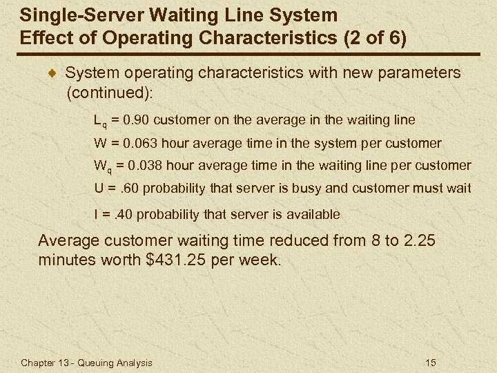 Single-Server Waiting Line System Effect of Operating Characteristics (2 of 6) System operating characteristics