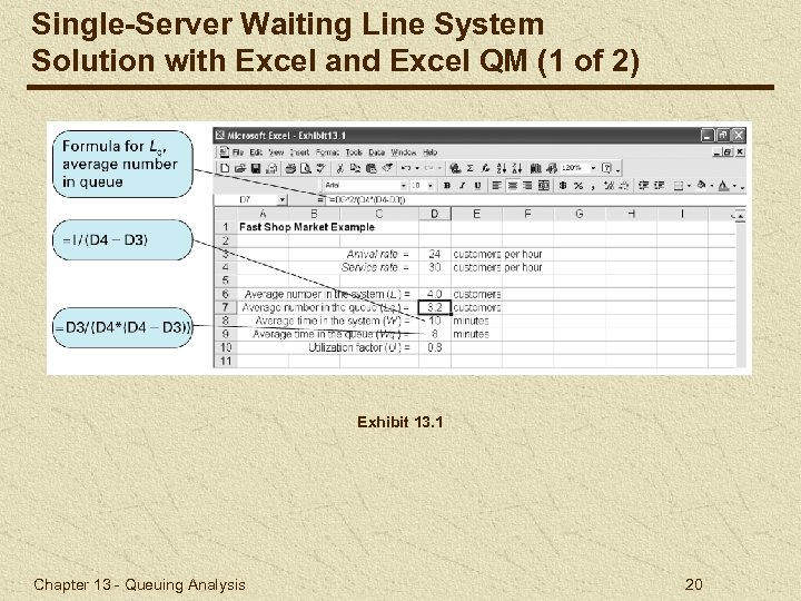 Single-Server Waiting Line System Solution with Excel and Excel QM (1 of 2) Exhibit