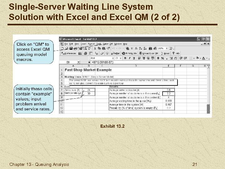 Single-Server Waiting Line System Solution with Excel and Excel QM (2 of 2) Exhibit