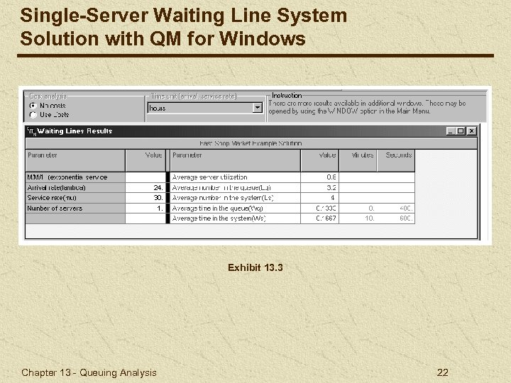 Single-Server Waiting Line System Solution with QM for Windows Exhibit 13. 3 Chapter 13