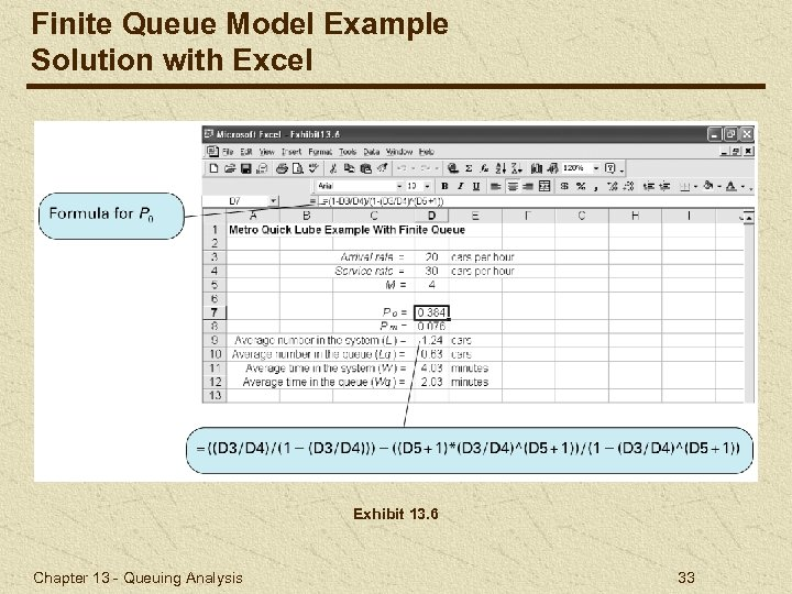 Finite Queue Model Example Solution with Excel Exhibit 13. 6 Chapter 13 - Queuing