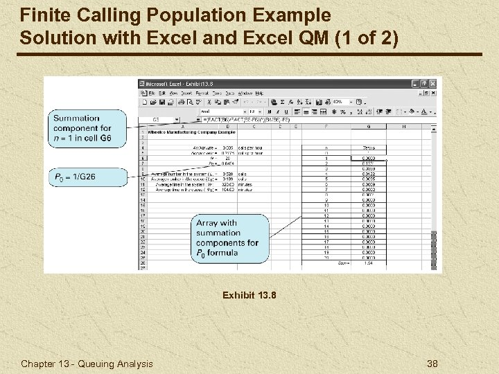 Finite Calling Population Example Solution with Excel and Excel QM (1 of 2) Exhibit