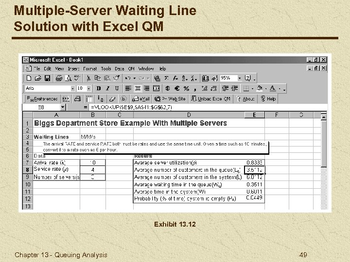 Multiple-Server Waiting Line Solution with Excel QM Exhibit 13. 12 Chapter 13 - Queuing