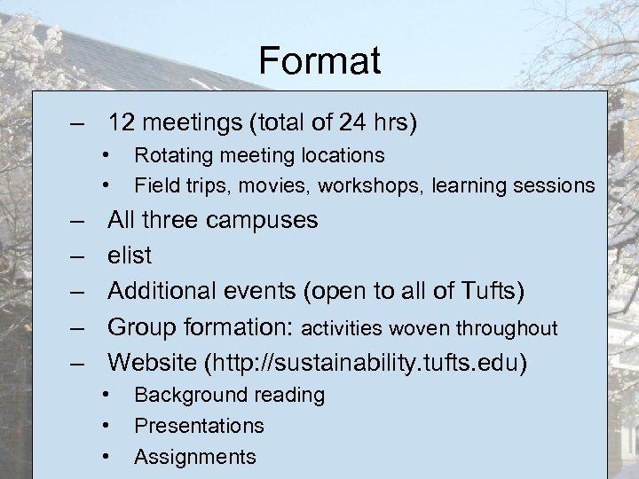Format – 12 meetings (total of 24 hrs) • • – – – Rotating
