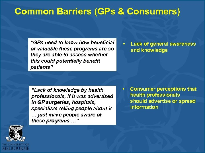"""Common Barriers (GPs & Consumers) """"GPs need to know how beneficial or valuable these"""