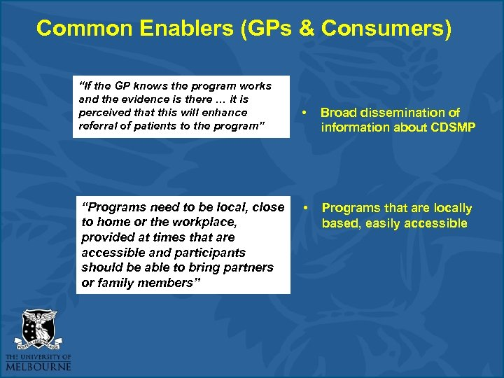 "Common Enablers (GPs & Consumers) ""If the GP knows the program works and the"